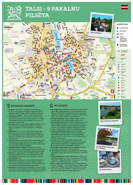 Maršruti Talsu novada apceļošanai -Talsu pilsētas karte